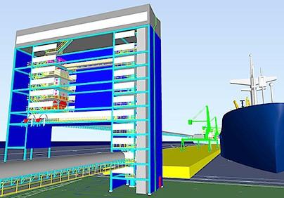 Wizualizacja Terminalu Przeładunkowo-Składowego w Porcie Północnym